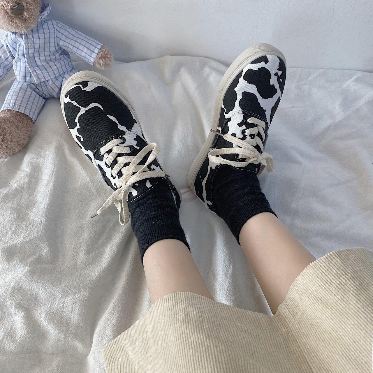 Giày Canvas Họa Tiết Da Báo Phong Cách Hàn Quốc Cho Nữ