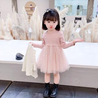 Đầm Dệt Kim Tay Phồng Dài Đính Kim Sa Đáng Yêu Cho Bé Gái