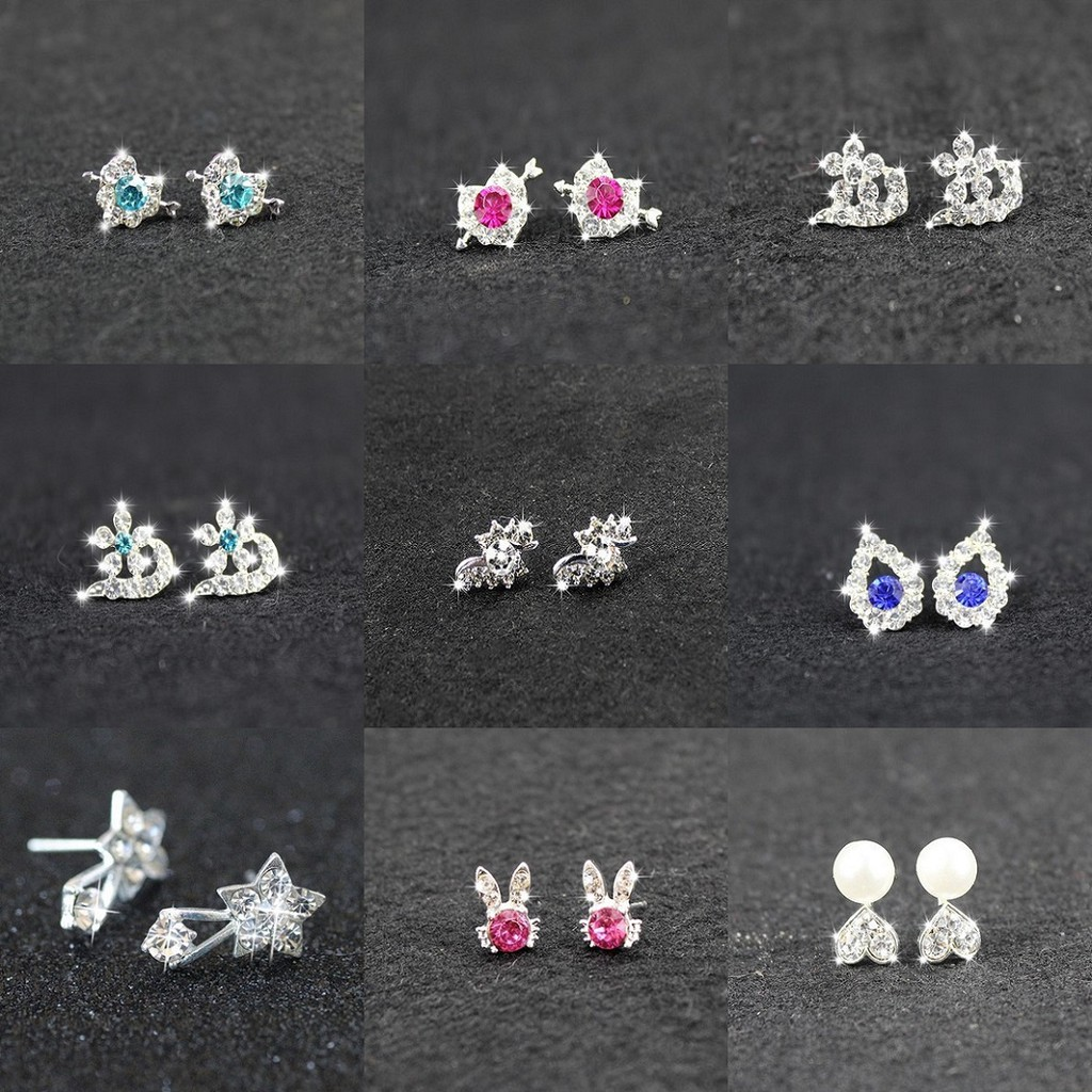 Bông tai nữ phong cách Hàn Quốc nhỏ gọn cá tính đẹp trẻ trung năng động hoa tai nữ khuyên tai nữ khuyên nụ