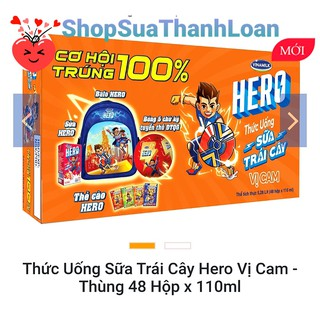 [HSD T11-2021] THỨC UỐNG SỮA TRÁI CÂY HERO VỊ CAM – THÙNG 48 HỘP X 110ML