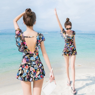 High-End Swimsuit Female Sexy Little Chest Gathered Siamese Conservative Student Korean Style Fresh Large Size Belly Covering Hot Spring Swimsuit