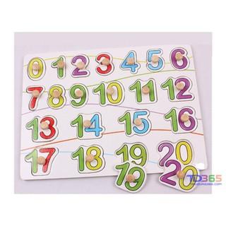 Bảng học ghép chữ số 0-20 có núm cho bé chữ số