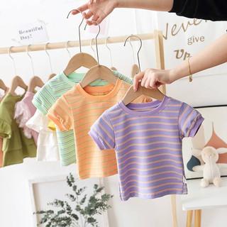 Áo thun nữ ngắn tay cho bé Cotton 1 tuổi 2 quần áo trẻ em sọc nửa tay áo sơ mi mùa hè mỏng 3 thoáng khí