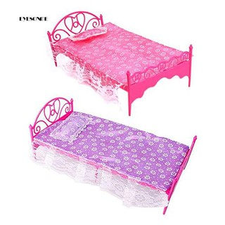 ♕Fashion Plastic Miniatures Bedroom Furniture Single Bed for Dolls Dollhouse