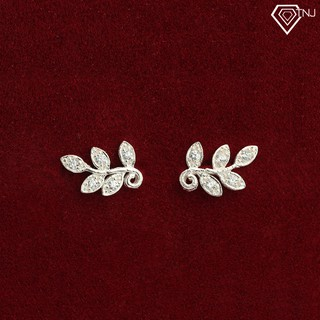 Khuyên tai nữ bạc hàn quốc hình lá nguyệt quế đính đá BTN0073 - Trang Sức TNJ