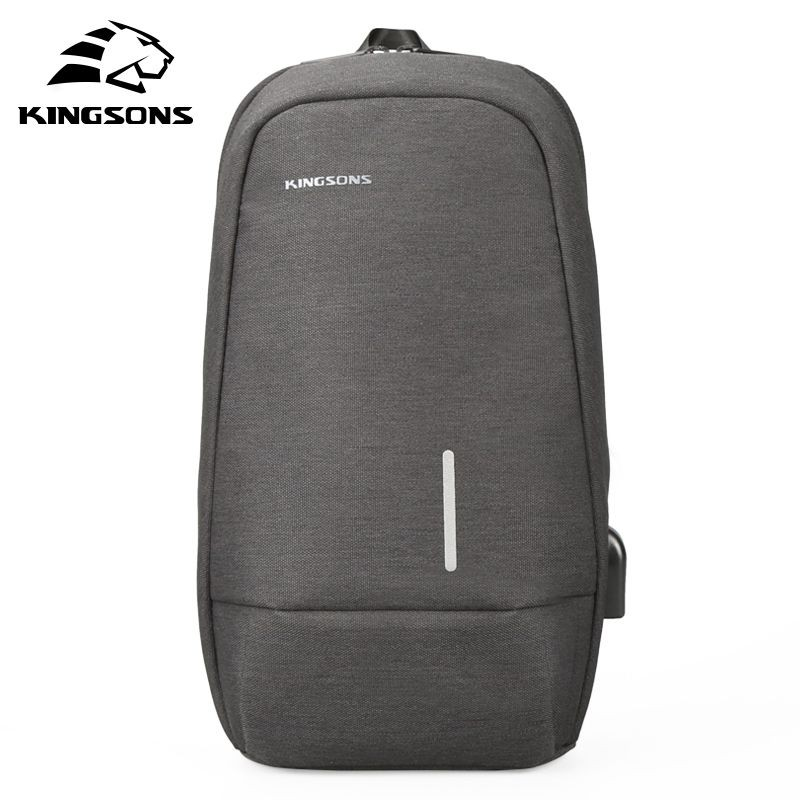 Kingsons USB Chest Bag Men Crossbody Bags Small Shoulder Bag For Male Bicycle Seat Sling Bag Men