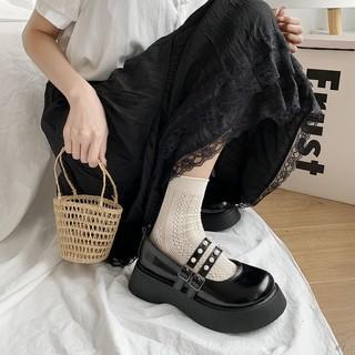 Giày da nhỏ nữ 2021 mới mùa hè hoang dã đế dày màu đen Nhật Bản jk retro trường cao đẳng Mary Jane Carrefour đơn thumbnail