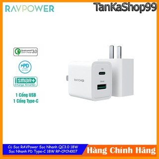 Củ Sạc RAVPower Sạc Nhanh PD Type-C 18W , QC 3.0 18W