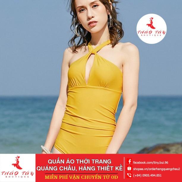 [ ] Bikini,Bộ Đồ Bơi Body Tạo Khe Màu Vàng Siêu Hot, Hàng Nhập, kèm mũ và dép Bộ bơi