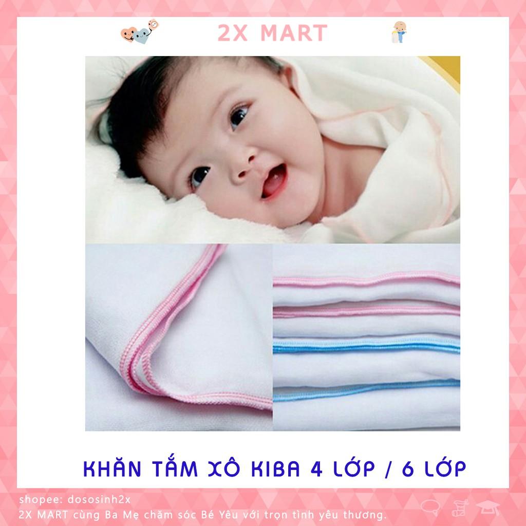 Khăn tắm cho bé vải xô KIBA 4 lớp / 6 lớp sợi bông siêu mềm siêu thấm - 2X MART