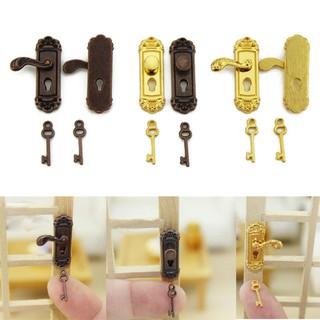 1/12 Retro Dollhouse Miniature Door Lock and Key Doll House DIY Accessories