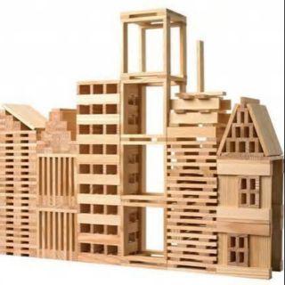 《Combo》2 bộ xếp hình 100 và 200 thanh gỗ mộc
