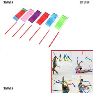 [SIYUYAN] Gym Dance Ribbon Gymnastics Art Ballet Streamer Twirling Rod Outdoor Sport 2M