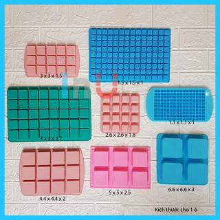 HCM - Khuôn silicon vuông nhiều mẫu làm kẹo dẻo, đổ socola, râu câu pudding
