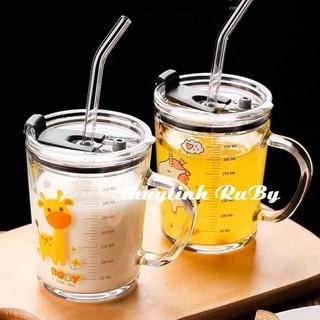 Bộ 2 Ly Quai Thủy Tinh Có Lỗ Ống Hút Uống Sữa 400ml, Ca Uống Nước Có Chia Vạch Đo