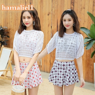 Available Woman 3-piece Swimsuit of Tops Bottoms Cover Shirt Leisure Vacation Beach Wear