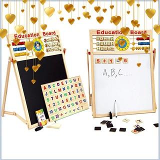Tốt- Bảng gỗ nam châm giáo dục 2 mặt cho bé viết vẽ, học số, học chữ cái -Loại Đẹp