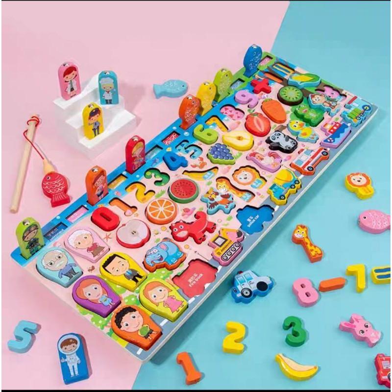 Bộ đồ chơi trí tuệ bằng gỗ 63 chi tiết câu cá, ghép số, ghép chữ,logic toán học và tiếng việt cho bé trai, bé gái