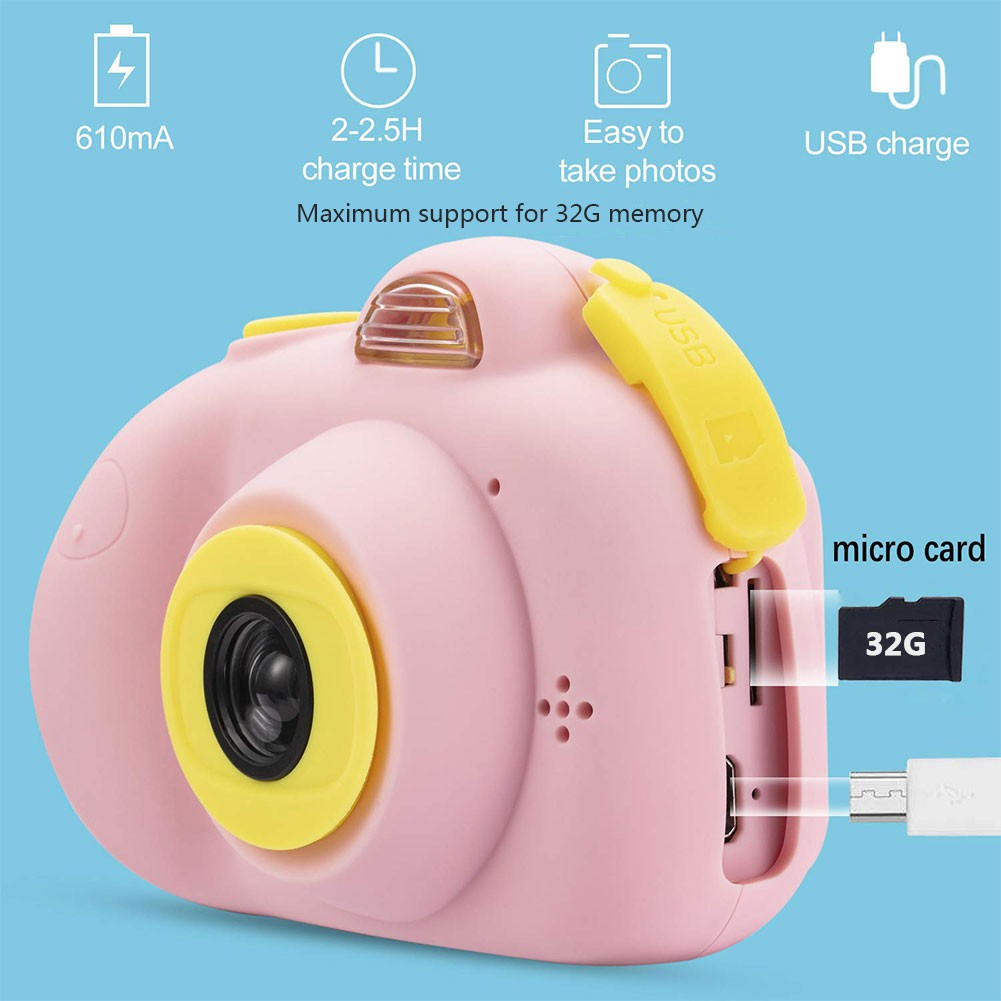 Children's cartoon digital camera Small SLR sports camera toy gift Contains 32G memory card