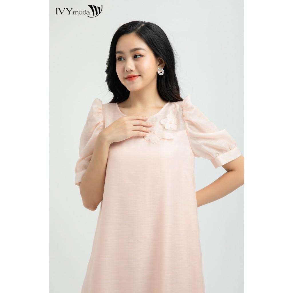 IVY moda Đầm Voan đính hoa MS 48