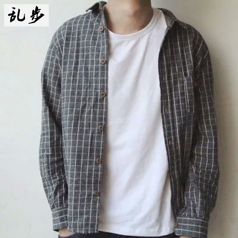 Men's long sleeved shirt retro style Korean style