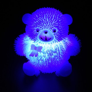 9CM Novelty Flashing Puffer Cute Bear Squidgy Sensory Toy Activity and Play Ball