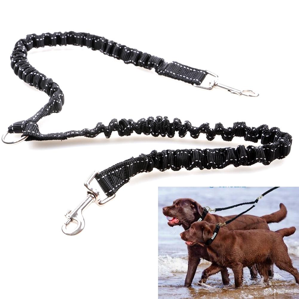 Leash Double Dog Elastic Leading Durable Harness Nylon Pet Walking Safety Soft Splitter Training Puppy