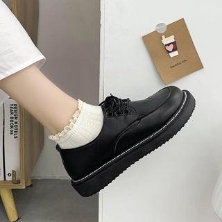 Giày nữ oxford Anh quốc đế cao dày răng cưa da bóng nhám mũi vuông tăng chiều cao thời trang Hàn quốc thumbnail