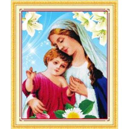 Tranh thêu chữ thập Mary And Jesus