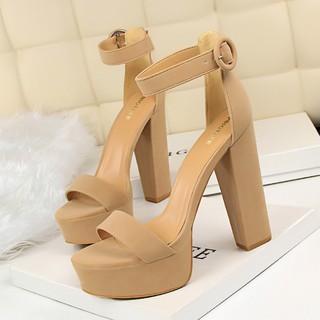 ✷☈Hengtian high model women s shoes 14cm/15cm super heel sandals thick stage performance catwalk black car