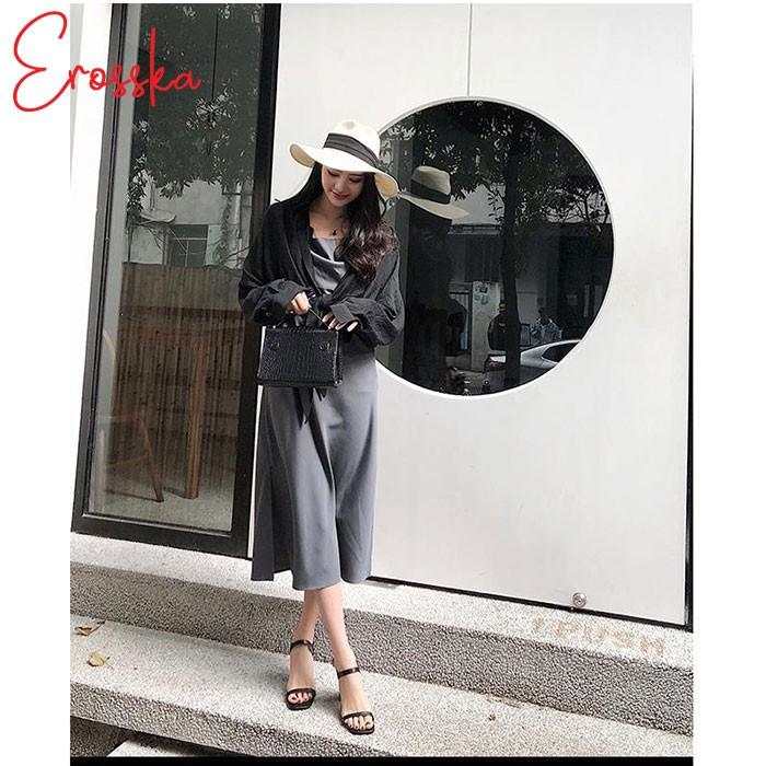 Hình ảnh Giày Sandal Nữ Thời Trang Erosska 5cm Mũi Vuông - EM019 - Màu Nude-5