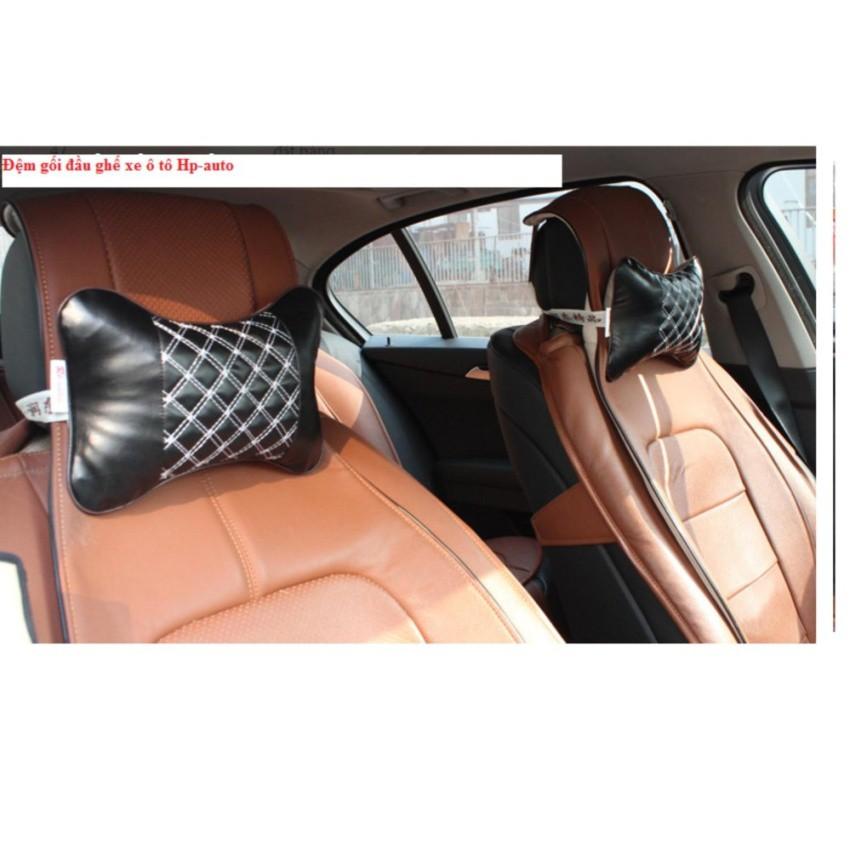 Combo 2 Gối tựa đầu ghế xe ô tô Hp-auto03 (Đen chỉ trắng)