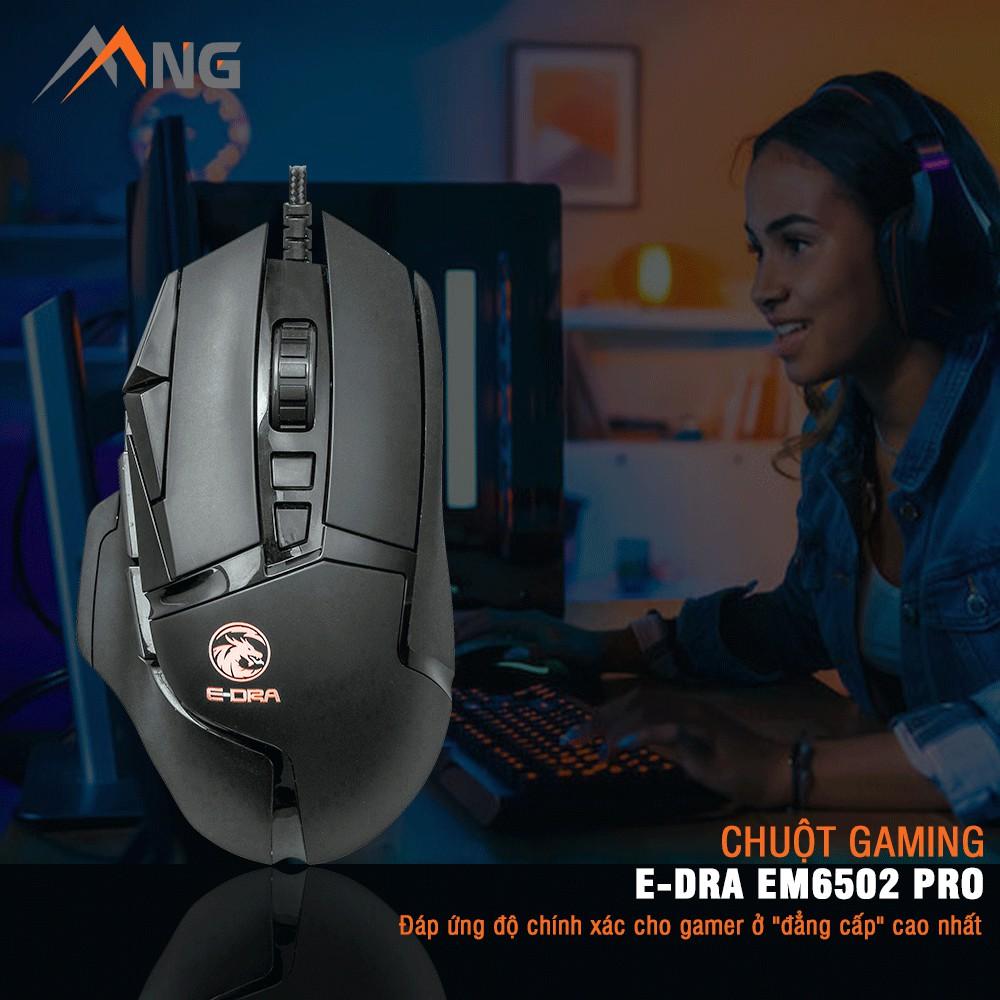 [Mã ELCLJUL giảm 7% đơn 500K] Chuột Gaming EDra EM6502 Pro Cảm Biến Quang Học Pixart Đèn Led DPI 16000 Có Dây Văn Phòng
