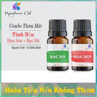 Combo Thơm Mát – 2 Chai Tinh Dầu Bạc Hà + Hoa Sen 10ml- Khử Khuẩn – Xông Phòng – Tinh Dầu Nguyên Chất 100%