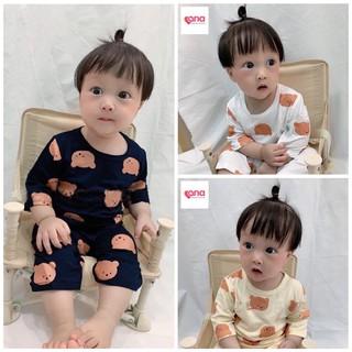 Đồ bộ cho bé trai bé gái tay lỡ gấu nâu Hàn Quốc [Siêu giảm giá] đồ bộ bé trai gái lửng gấu xuất hàn trẻ em thun cotton