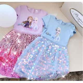 Đầm Elsa Cotton Đính Kim Sa Siêu Lộng Lẫy Có Hai Màu Tím Hồng Và Xanh Nhạt