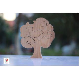 Lego – tranh ghép gỗ an toàn cho bé – chim bồ câu trong cây đại thụ