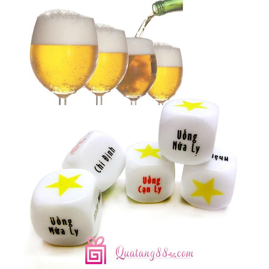 [BC] Xí ngầu uống bia set 05 viên với 6 mặt chữ (HAO-XNUB)