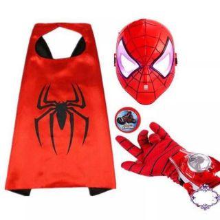 Áo choàng siêu nhân nhện kèm găng tay, mặt nạ, đồng hồ bắn đĩa.