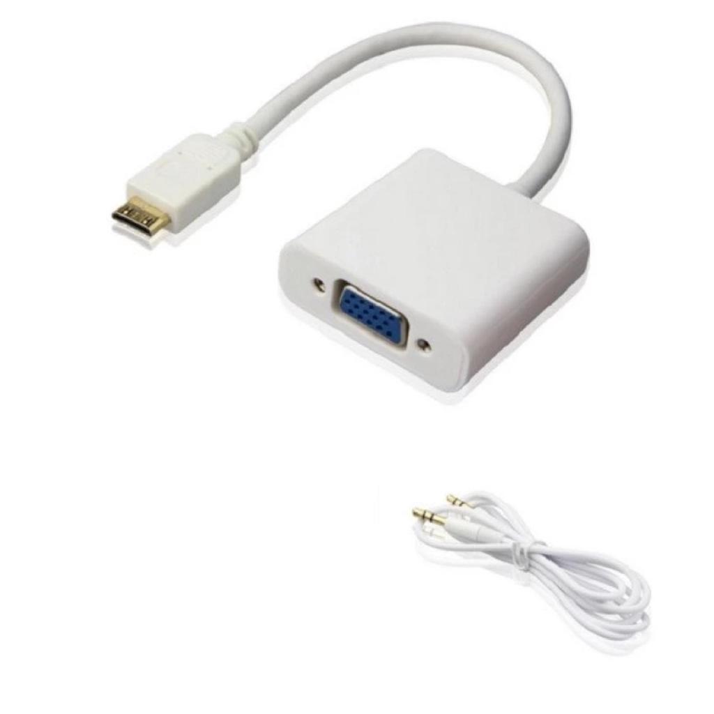 Cáp chuyển đổi Mini HDMI sang VGA có âm thanh HDMI To VGA Adapter (Trắng) -dc936Tr