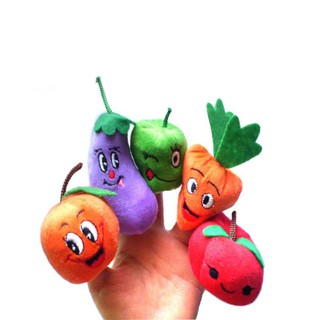 ✿INN✿ 10Pcs Vegetable Fruit Dolls Finger Puppets Set Mini Plush Baby Story Telling Hand Cloth Toys