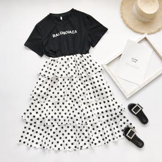 Bộ Áo Thun + Chân Váy Nhiều Tầng Họa Tiết Chấm Bi Thời Trang Mùa Hè 2020 Mới Cho Mẹ Và Bé