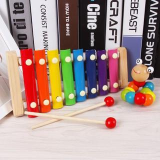 [CHO MẸ & BÉ] Combo đồ chơi: 1 Sâu gỗ uốn dẻo; 1 Đàn gỗ Xylophone 8 Quãng Cho Bé ( Loại Thường)