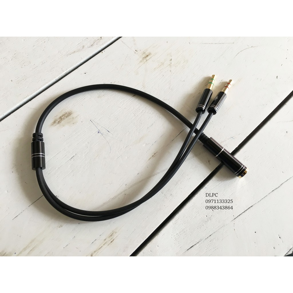 Cáp chia từ tai nghe điện thoại sang 2 đầu mic và audio riêng (1 cái-2 đực) Giá chỉ 35.000₫
