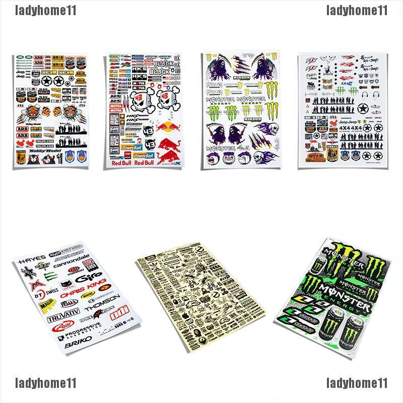{ladyhome11}RC Car Personalize Decor Mark Sticker TRX4 D90 SCX10 Waterproof Sign Sticker Set