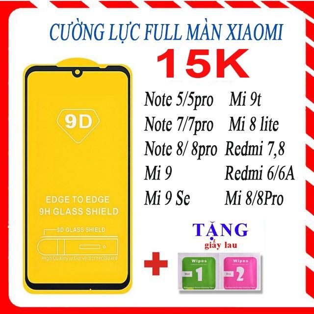 [Tặng giấy lau]  Cường lực Xiaomi note 5/5pro, note 7, note8 /8pro, mi 9, mi 9t, mi 8 lite, redmi 7, redmi 8