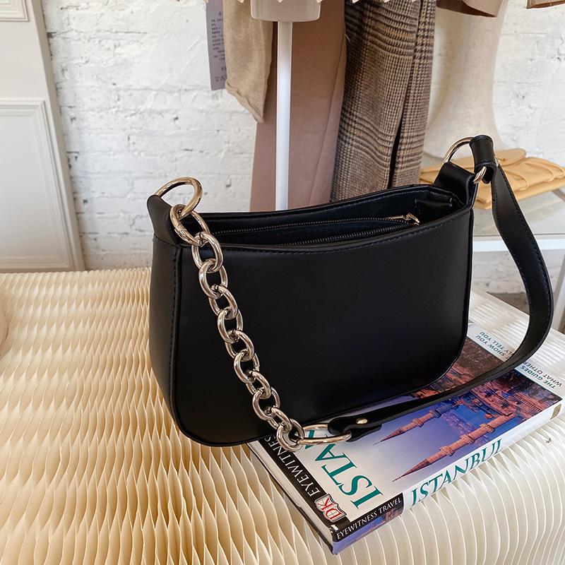 Túi xách da PU màu đen phong cách đường phố dành cho nữ