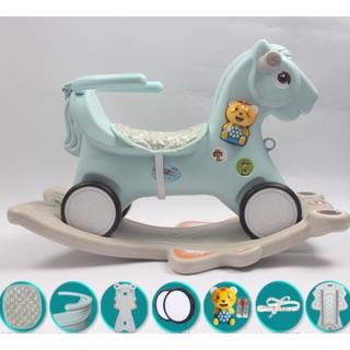 Ngựa bập bênh có nhạc có bánh xe chòi chân và giá đỡ