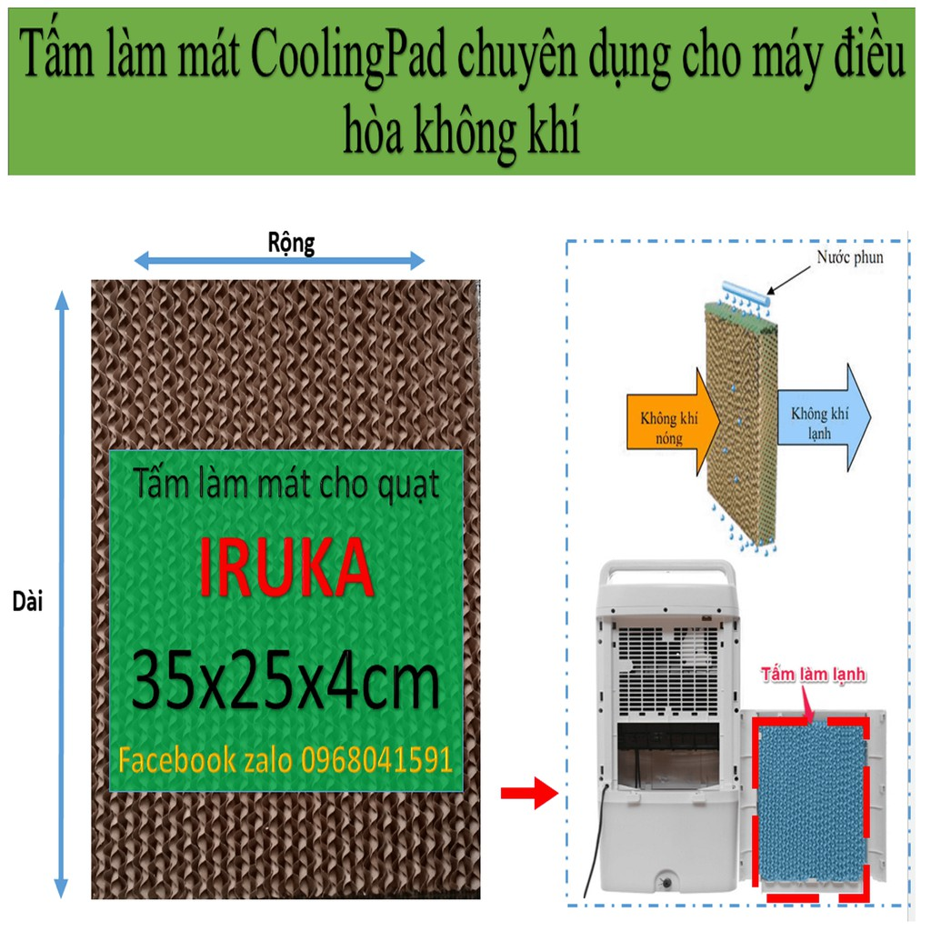 Tấm làm mát cooling pad, tấm làm mát tổ ong cho quạt IRUKA kích thước trung bình 35x25x4cm