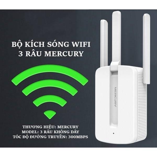 [HÀNG MỚI]  Bộ kích sóng wifi 3 râu Mercury -wireless 300Mbps - CHẤT LƯỢNG CAO